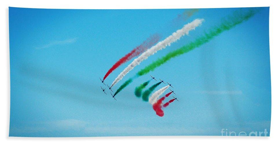 Tricolori Bath Sheet featuring the photograph Italian Frecce Tricolori Aerobatics Team by Stefano Senise