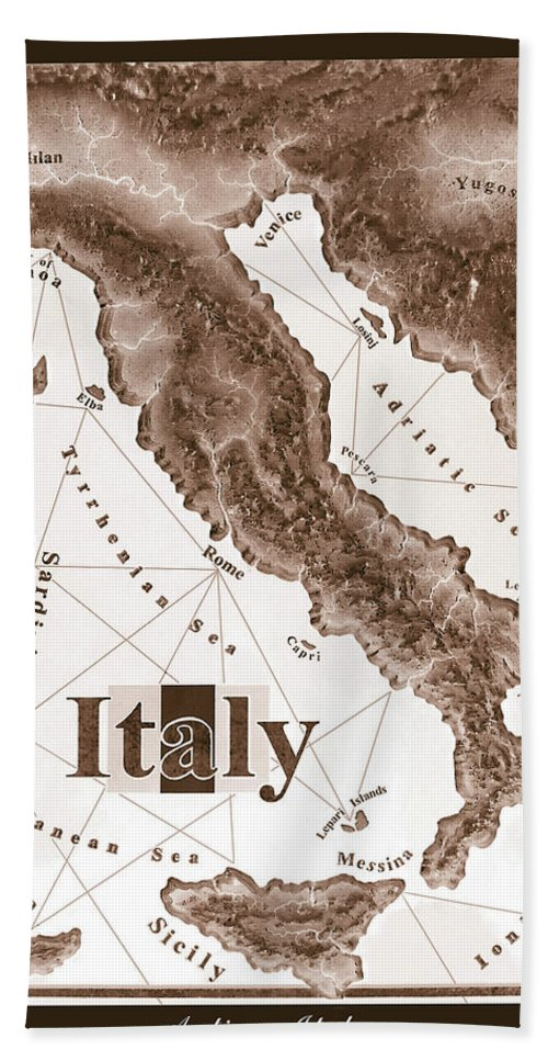 Italian Hand Towel featuring the mixed media Italian Map by Curtiss Shaffer