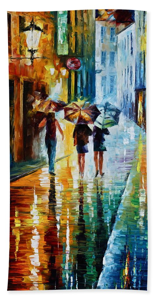 Woman Hand Towel featuring the painting Italian Rain by Leonid Afremov