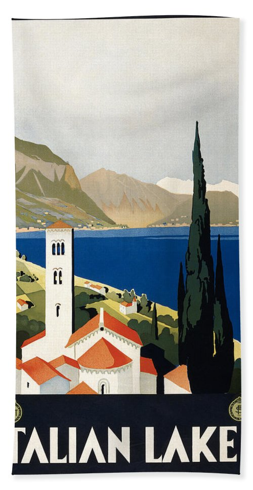 1930 Bath Sheet featuring the photograph Italian Travel Poster, C1930 by Granger