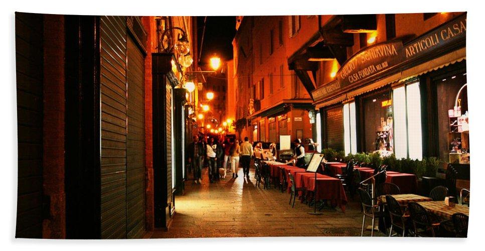 Italy Night City Scene Hand Towel featuring the photograph Bologna Italy Night Scene by Femina Photo Art By Maggie