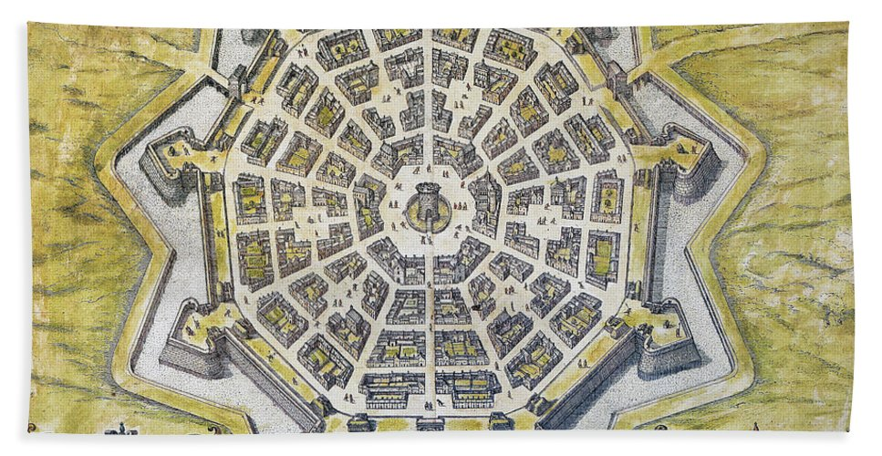 1598 Hand Towel featuring the photograph Italy: Palmanova Map, 1598 by Granger