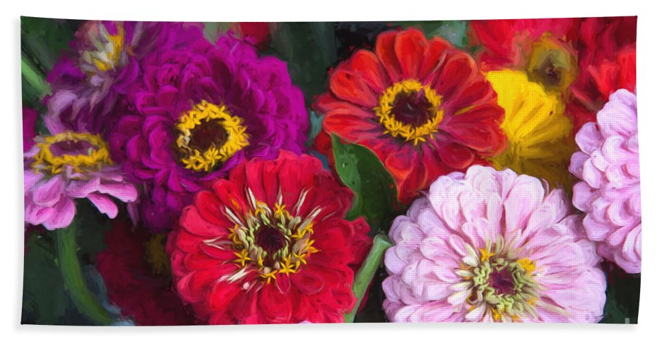 Michele Bath Sheet featuring the digital art Farmer's Market Flowers II by Michele Steffey