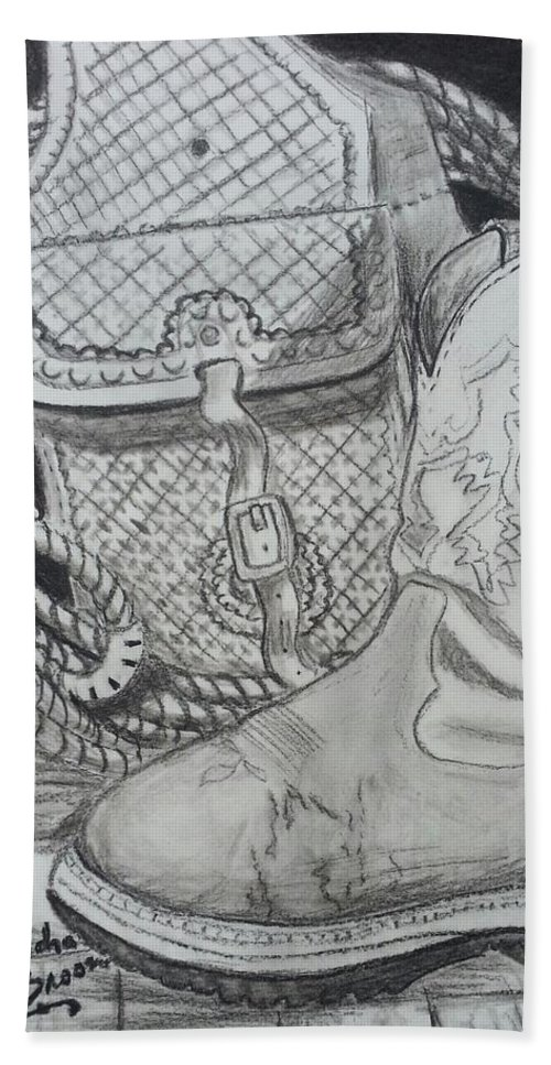 Cowgirl Boots Hand Towel featuring the drawing It's A Lifestyle by Kendra DeBerry