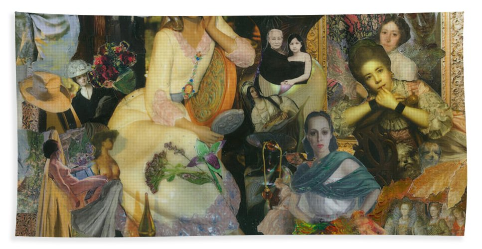 Collage Hand Towel featuring the mixed media It's All A Facade by Paula Emery