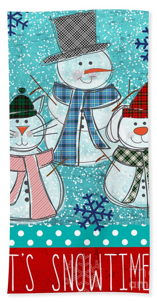 Snowman Hand Towel featuring the painting It's Snowtime by Linda Woods