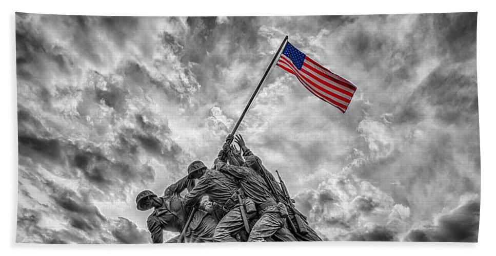 American Flag Hand Towel featuring the photograph Iwo Jima Memorial Bw 1 by Susan Candelario