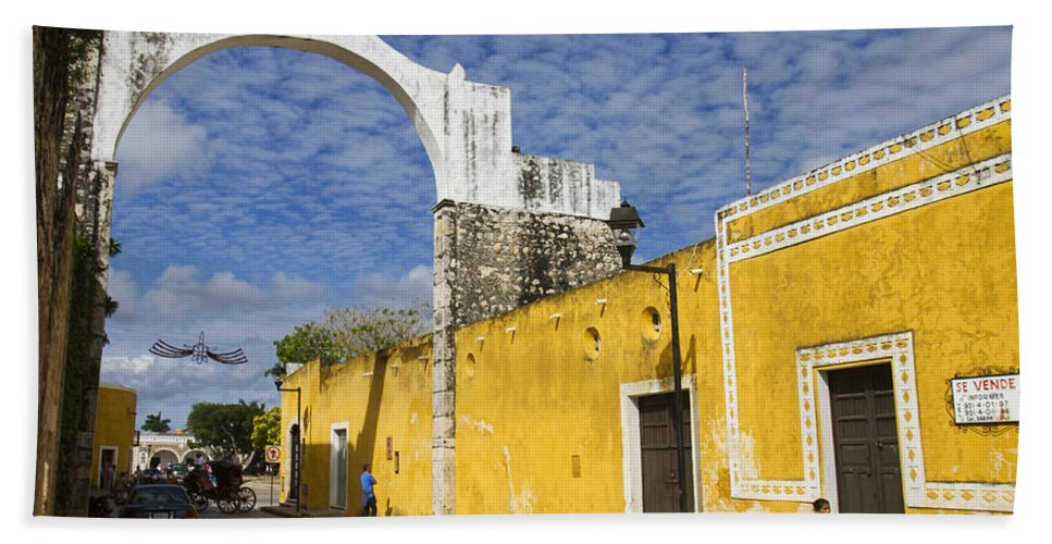 Yucatan Bath Sheet featuring the photograph Izamal And It's Famous Arch by For Ninety One Days