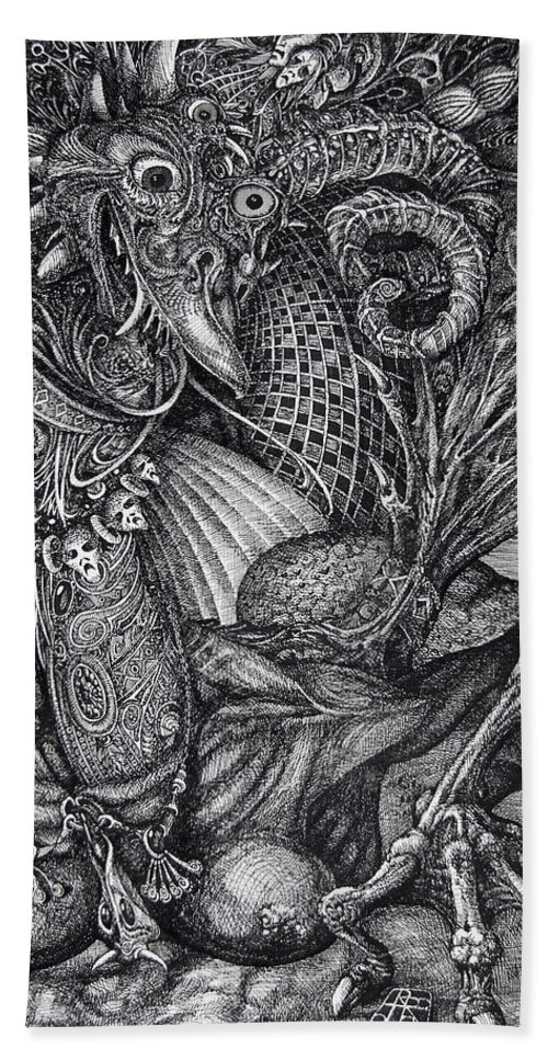 Surrealism Bath Towel featuring the drawing Jabberwocky by Otto Rapp