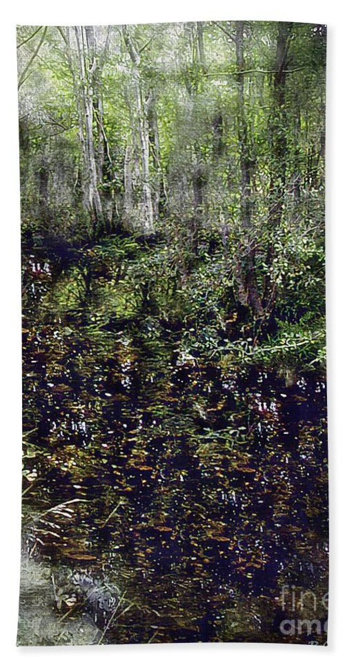 Forest Hand Towel featuring the painting Jack Kell's Woods by RC DeWinter
