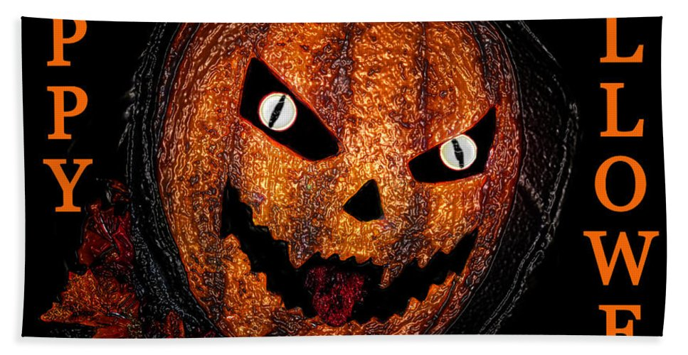 Jack Lantern Hand Towel featuring the painting Jack Lantern Hh One by David Lee Thompson
