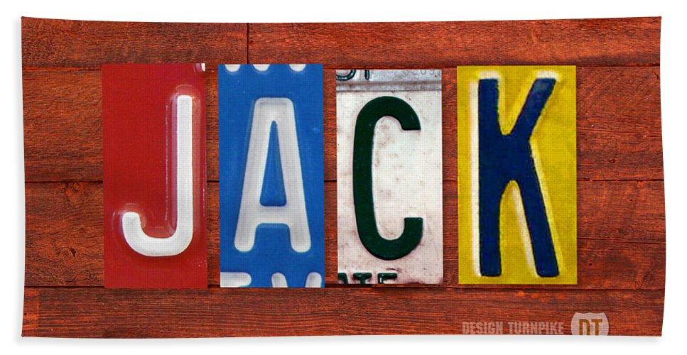 License Hand Towel featuring the mixed media Jack License Plate Name Sign Fun Kid Room Decor by Design Turnpike