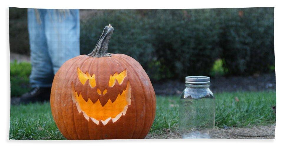 Pumpkin Bath Sheet featuring the photograph Jack O Lan Tern by Rob Luzier