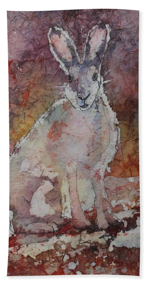 Rabbit Hand Towel featuring the painting Jack Rabbit by Ruth Kamenev