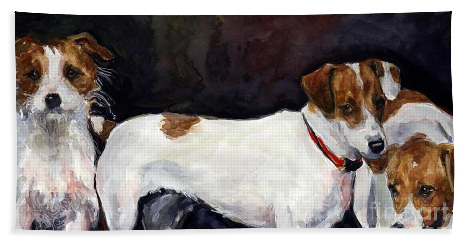 Jack Russell Terriers Hand Towel featuring the painting Jack Trio by Molly Poole