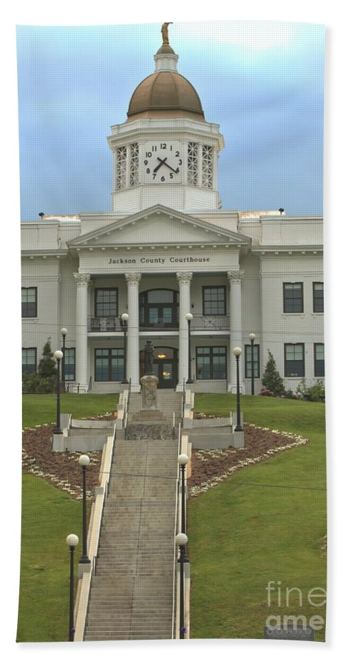 Jackson County Courthouse Hand Towel featuring the photograph Jackson County Courthouse by Adam Jewell