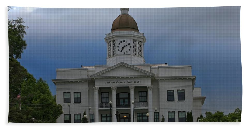 Jackson County Courthouse Hand Towel featuring the photograph Jackson County Courthouse North Carolina by Adam Jewell