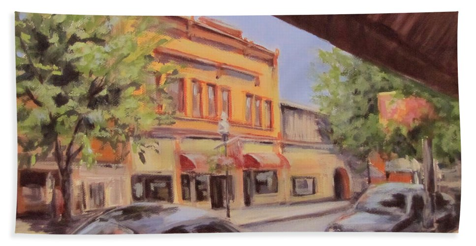 Original Bath Sheet featuring the painting Jackson Street by Karen Ilari