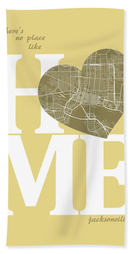 Road Map Hand Towel featuring the digital art Jacksonville Street Map Home Heart - Jacksonville Florida Road M by Jurq Studio