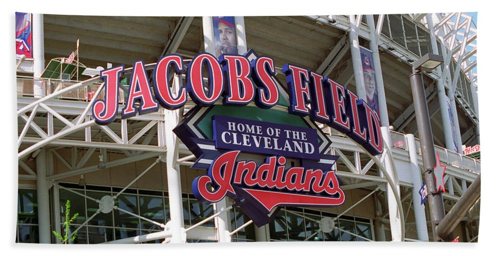America Hand Towel featuring the photograph Jacobs Field - Cleveland Indians by Frank Romeo