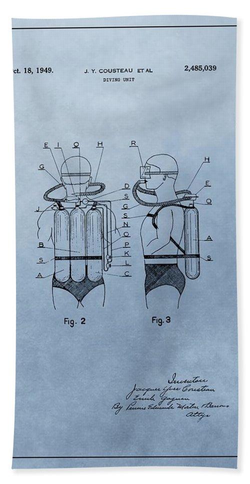 Jacques Cousteau Diving Suit Patent Bath Sheet featuring the drawing Jacques Cousteau Diving Suit Patent by Dan Sproul