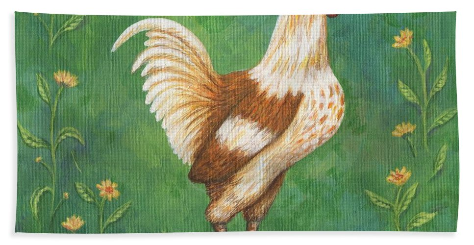 Animals Bath Sheet featuring the painting Jagger The Rooster by Linda Mears