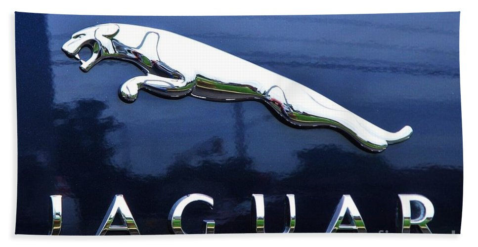 Automotive Art Jaguar Brand Reflections Product Iconic Logo Surrealism British Classic Silver New Jersey Outdoors Blue Background Collectible Fathers Day Gift Wood Print Metal Frame Canvas Print Poster Print Available On Throw Pillows T Shirts Mugs Phone Cases Shower Curtains Tote Bags Duvet Covers And Beach Towels Bath Sheet featuring the photograph A Gift For Dads And Jaguar Fans by Marcus Dagan