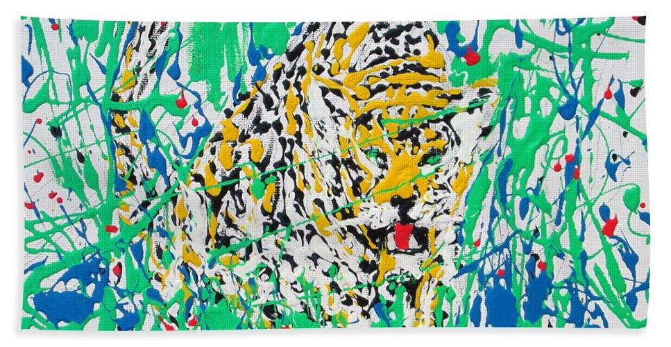 Jaguar Bath Sheet featuring the painting Jaguar - Enamels Painting by Fabrizio Cassetta