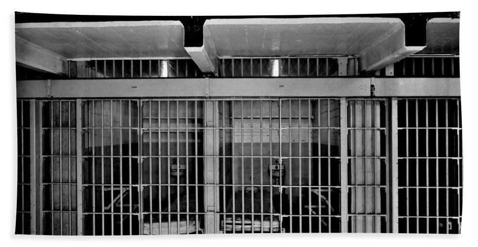 Alcatraz Bath Sheet featuring the photograph Jail Cells by Benjamin Yeager