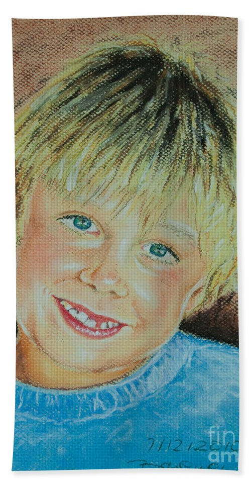 Boy Hand Towel featuring the pastel Jake by Katharina Filus