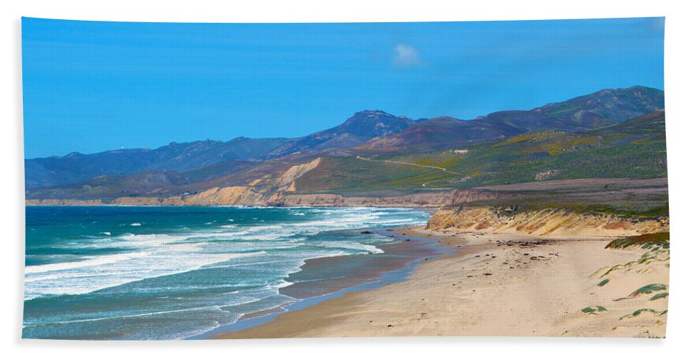 Jalama Beach Santa Barbara County California Hand Towel featuring the digital art Jalama Beach Santa Barbara County California by Barbara Snyder