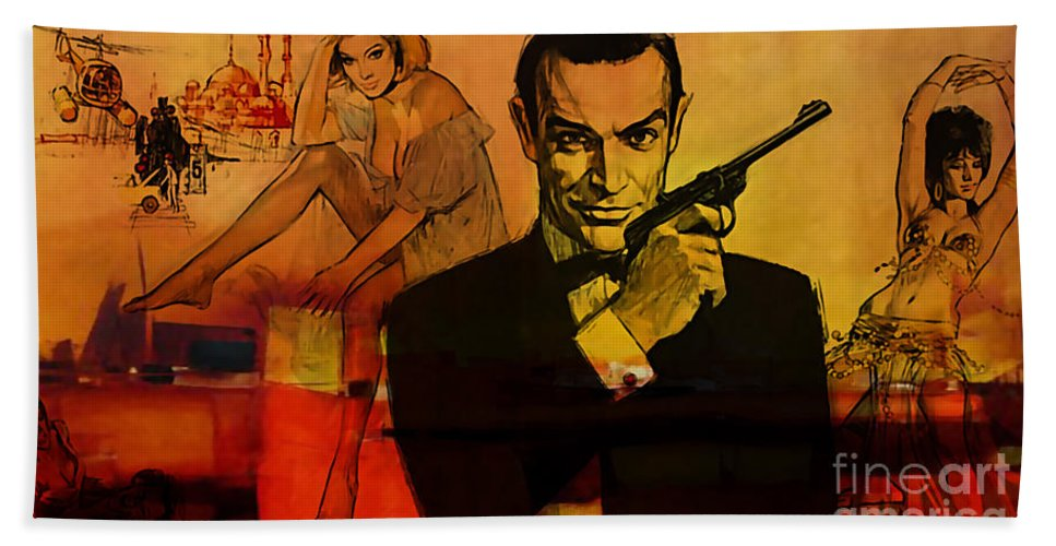 Sean Connery Paintings Hand Towel featuring the mixed media James Bond by Marvin Blaine