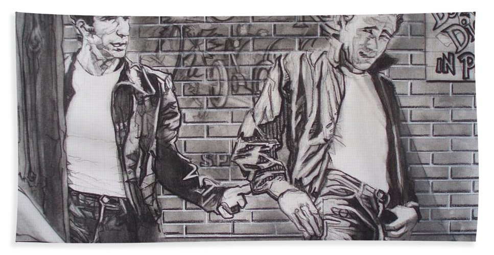Americana Hand Towel featuring the drawing James Dean Meets The Fonz by Sean Connolly