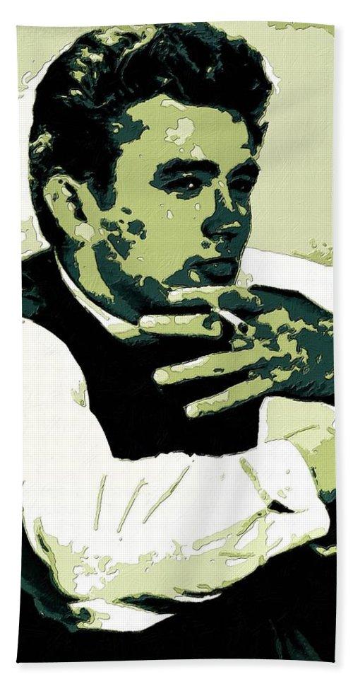 James Dean Hand Towel featuring the painting James Dean Poster Art by Florian Rodarte