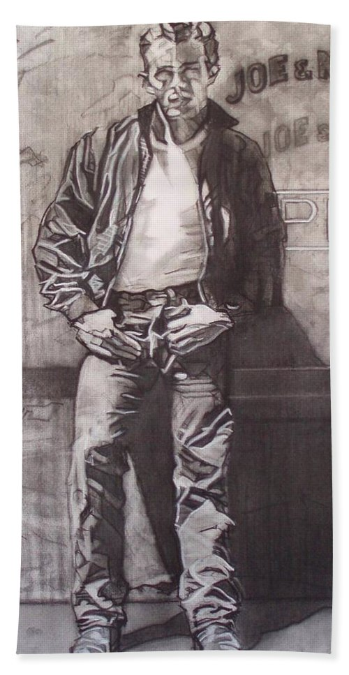 Charcoal; Icon;americana;cool;window;sidewalk;street;rock And Roll;jeans;t-shirt;diner;movie Star Bath Towel featuring the drawing James Dean by Sean Connolly