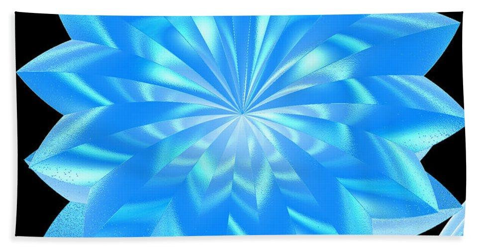 First Star Art Bath Sheet featuring the digital art jammer Blue Shimmer Lotus by First Star Art