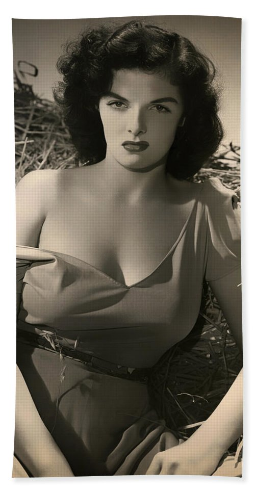 Jane Russell Bath Sheet featuring the photograph Jane Russell In The Outlaw by Mountain Dreams