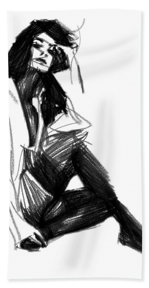 Janet Jackson Drawing Portrait Female Woman Girl Sexy Famous Star Singer Erotic Bath Sheet featuring the painting Janet by Steve K
