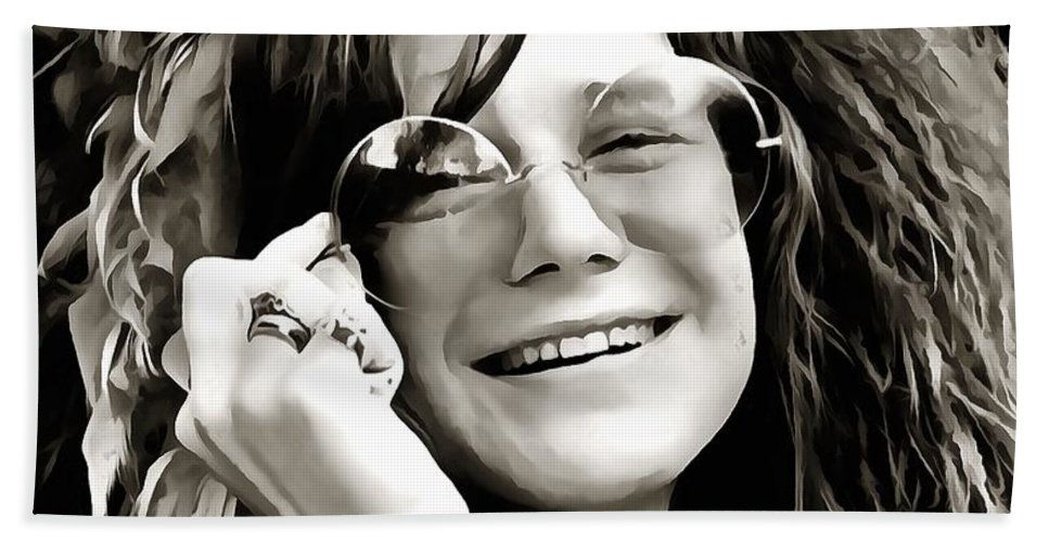 Janis Joplin Bath Towel featuring the digital art Janis by Dan Sproul