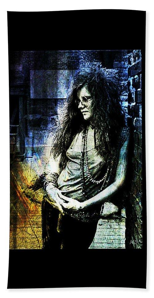 Janis Joplin Bath Sheet featuring the digital art Janis Joplin - Blue by Absinthe Art By Michelle LeAnn Scott