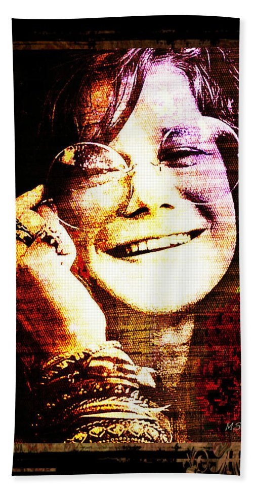 Janis Joplin Bath Sheet featuring the digital art Janis Joplin - Upclose by Absinthe Art By Michelle LeAnn Scott
