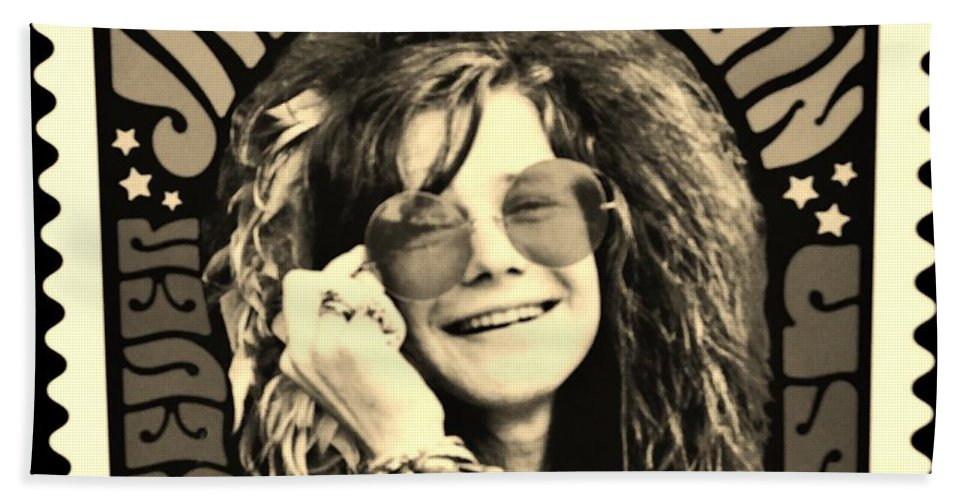 Janis Bath Sheet featuring the photograph Janis Stamp In A Sepia Vibe by Rob Hans