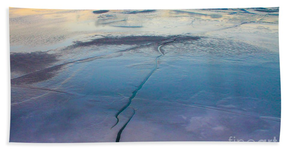 Water Hand Towel featuring the photograph January Sunset On A Frozen Lake by Nina Silver
