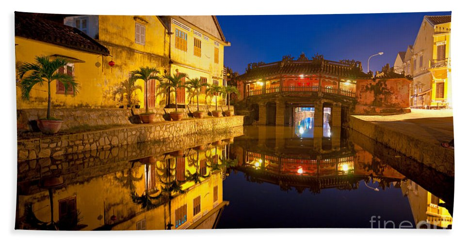 American Bath Sheet featuring the photograph Japanese Bridge In Hoi An - Vietnam by Luciano Mortula
