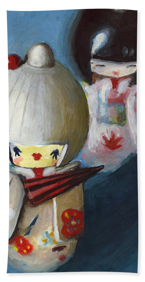 Dolls Hand Towel featuring the painting Japanese Dolls by Maja Opacic
