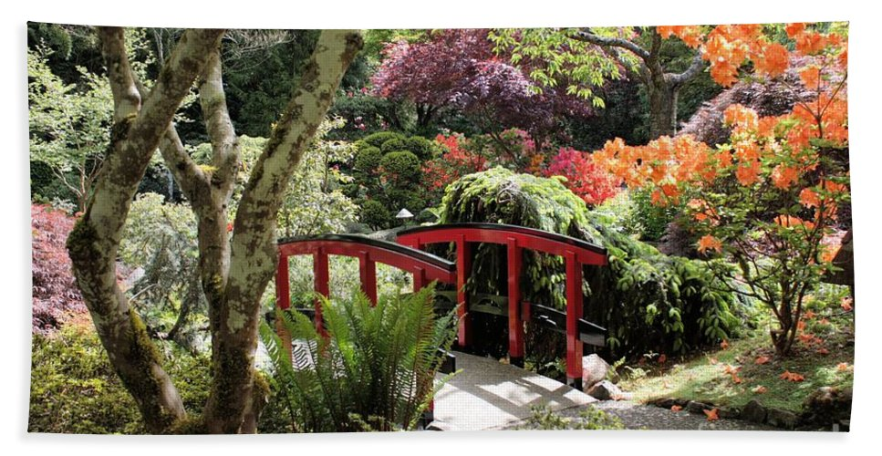 Japanese Garden Hand Towel featuring the photograph Japanese Garden Bridge With Rhododendrons by Carol Groenen