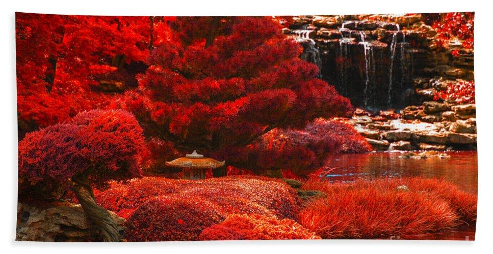 Botanical Garden Bath Sheet featuring the photograph Japanese Garden by Douglas Barnard