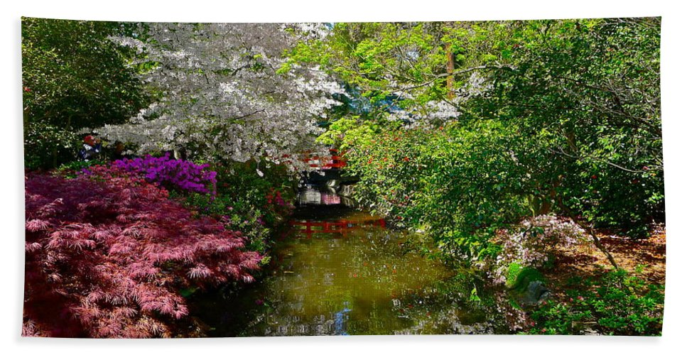 Garden Bath Sheet featuring the photograph Japanese Garden In Bloom by Denise Mazzocco