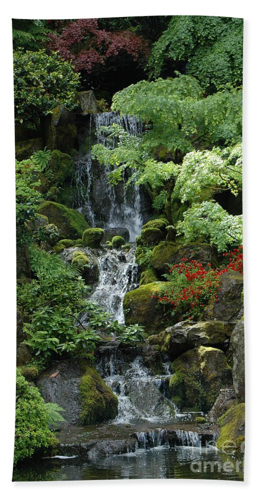 Japanese Bath Sheet featuring the photograph Japanese Garden Waterfall Portland Oregon by Mike Nellums