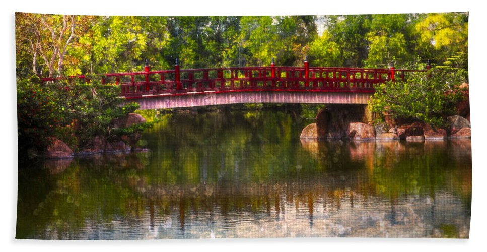 Clouds Hand Towel featuring the photograph Japanese Gardens Bridge by Debra and Dave Vanderlaan